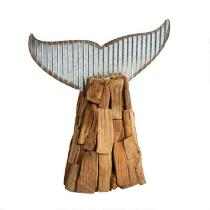 "10.75"" Driftwood Whale Tail Table Sitter"