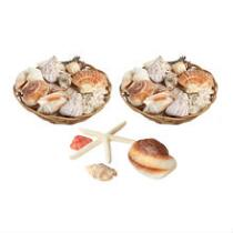 """8""""x4"""" Shell-Filled Baskets, Set of 2"""