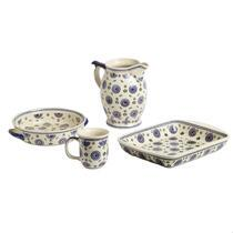 Polish Pottery Geometric Flowers Dinnerware