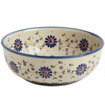Polish Pottery Floral Peacock Mixing Bowl
