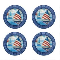 Patriotic Sailboat Heavyweight Melamine Dinner Plates, Set of 4