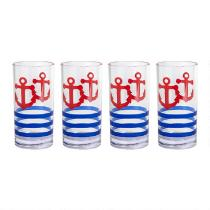 Nautical Anchor Cooler Glasses, Set of 4