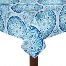 Blue Ikat Printed Microfiber Tablecloth