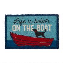 """""""Life is Better on the Boat"""" Coir Door Mat"""