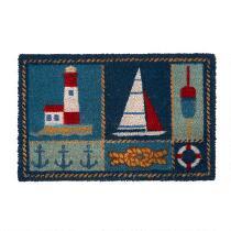 Lighthouse and Sailboat Coir Door Mat