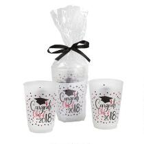 """Congrats Class of 2018"" Black Bow-Tied Plastic Cup Set, 3-Piece"