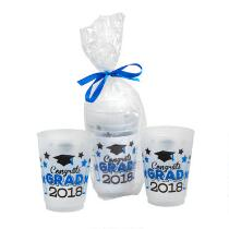 """Congrats Class of 2018"" Blue Bow-Tied Plastic Cup Set, 3-Piece"