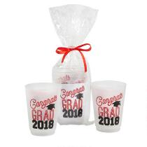 """Congrats Class of 2018"" Red Bow-Tied Plastic Cup Set, 3-Piece"