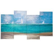 "18""x38"" Coastal Sailboat Canvas Wall Art"