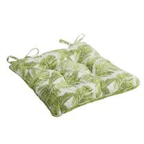 Coastal Palm Leaves Quilted Chair Pad