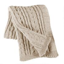 Cable Knit Tassel Throw Blanket