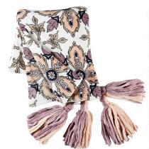 Evolution™ Pink/Purple Floral Tassel Throw Blanket