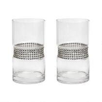 "7"" Rhinestone-Studded Glass Vases, Set of 2"