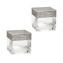 "4"" Rhinestone-Studded Square Glass Vases, Set of 2"