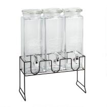 Triple Glass Beverage Dispenser with Stand