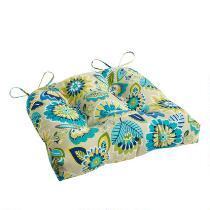 Yellow/Blue Floral Indoor/Outdoor Single-U Seat Pad