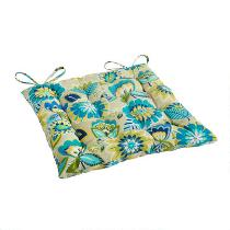 Yellow/Blue Floral Indoor/Outdoor Tufted Single-U Seat Pad
