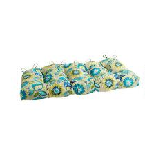 Yellow/Blue Floral Indoor/Outdoor Double-U Seat Pad