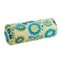 Yellow/Blue Floral Indoor/Outdoor Lumbar Roll Pillow