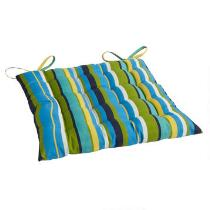 Blue/Green Stripes Indoor/Outdoor Tufted Single-U Seat Pad