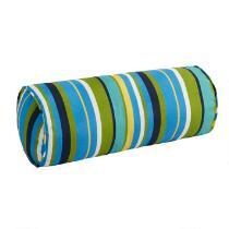 Blue/Yellow/Green Striped Indoor/Outdoor Lumbar Roll Pillow