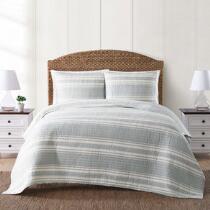 Coastal Living Seascapes™ Gray Striped Quilt Set