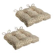 Tan Trellis Seat Pads, Set of 2