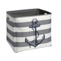 Coastal Striped Anchor Storage Tote