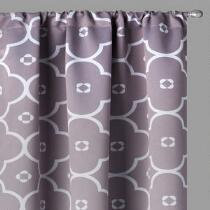 "LaLa + Bash 84"" Gray Ginger Blackout Window Curtains, Set of 2"
