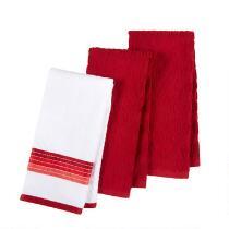 Red Diamond Pattern Cotton Kitchen Towels, Set of 3