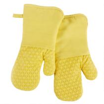 Yellow Silicone Oven Mitts, Set of 2