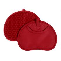 Red Silicone Pot Mitts, Set of 2