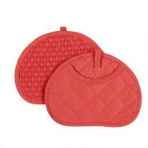 Coral Silicone Pot Mitts, Set of 2