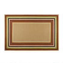 Red/Green/Tan Border All-Weather Area Rug