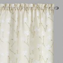 Perfect Window Tan/White Magnolia Window Curtains, Set of 2