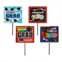 """""""Congrats Grad"""" Assorted Plastic Yard Signs, Set of 4"""