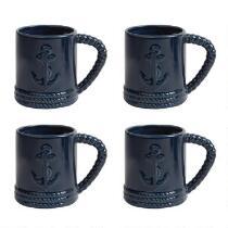 Coastal Living Seascapes™ 14-oz. Nautical Anchor Mugs, Set of 4