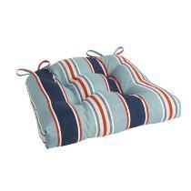 Alfresco™ Blue Striped Indoor/Outdoor Single-U Seat Pad