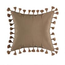 """18.5"""" Solid Brown Fringe Indoor/Outdoor Square Throw Pillow"""