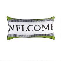 """14""""x28"""" """"Welcome"""" Indoor/Outdoor Oblong Throw Pillow"""