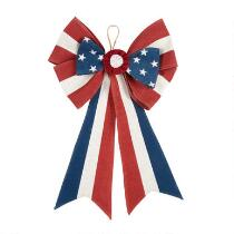 Red/White/Blue Stars and Stripes Burlap Bow