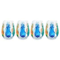 13-Oz. Multicolored Pineapples Stemless Wine Glasses, Set of 4
