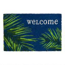 "18""x28"" ""Welcome"" Palm Leaves Coir Door Mat"