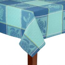Blue Turtles Cotton Jacquard Tablecloth