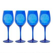Coastal Living® Seascapes Etched Shell Wine Glasses, Set of 4