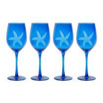 Coastal Living Seascapes™ Etched Starfish Wine Glasses, Set of 4