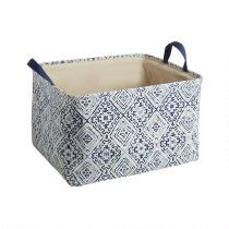 Coastal Geo Rectangular Fabric Storage Basket