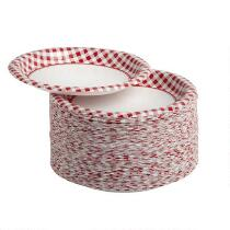 100-Count Red Gingham Paper Plates