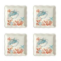 Coastal Living Seascapes™ Blue Crab Square Salad Plates, Set of 2