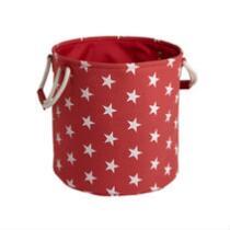 Red/White Stars Round Storage Bin
